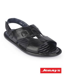 Men's Leather Sandal With Belt-Black - 9143101