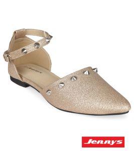 Golden Pu Leather Sandal-Shoe For Women - 6012207