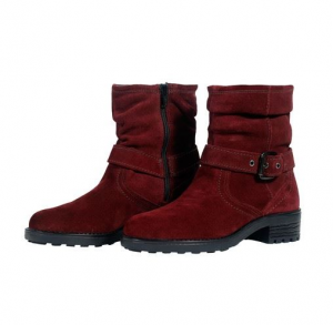 Women's Maroon Leather Boot - 219W1013-2